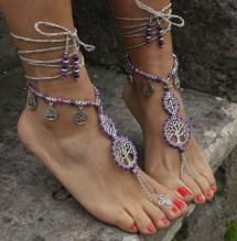 Purple Mood Barefoot Sandals Tree Of Life Foot Jewelry