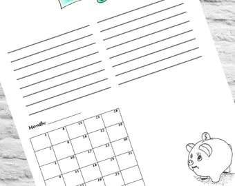 PRINTABLE Goal Tracker Money Savings Coloring Piggy Bank