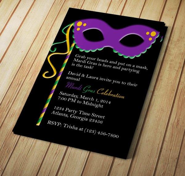 Mardi Gras Invitation Template for Word