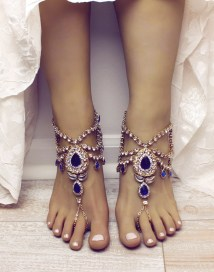 Bali Gold Barefoot Sandals And Blue Anklet
