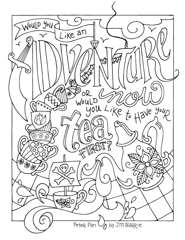 Peter Pan Coloring Page / JM Barrie / Quotes / Adventure