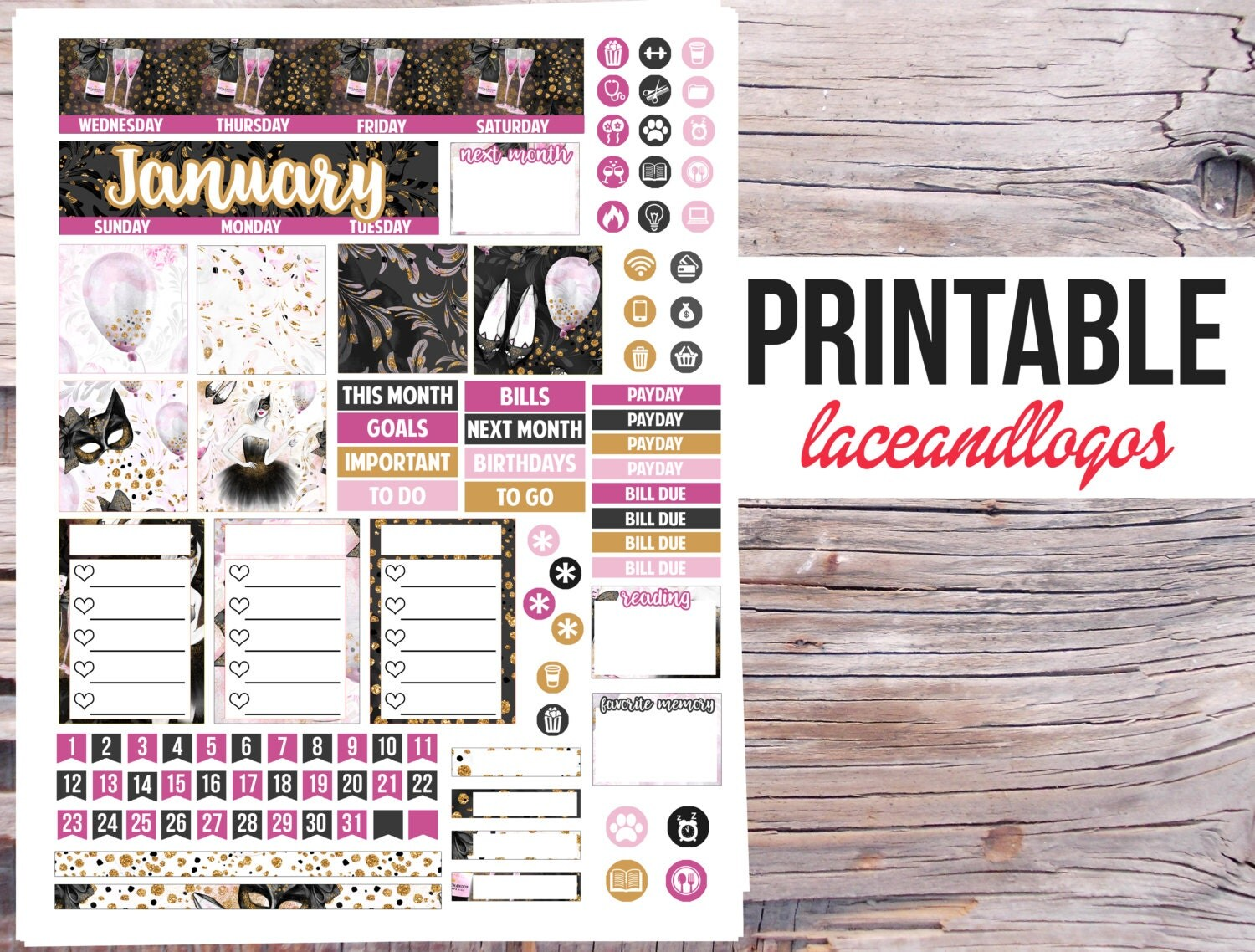 Printable Planner Stickers January Monthly Spread For Mambi Happy Planner Gold Black