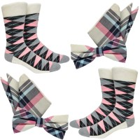 Matching Mens Socks BowTie & Pocket Square pink blue grey