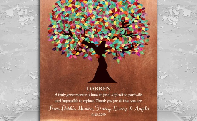 Mentor Gift Colorful Tree Of Faux Copper Background
