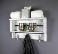 White Rustic Decor Shelf Coastal Chunky Bathroom Shelves