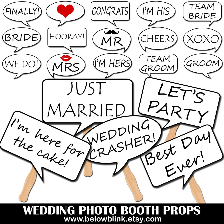 Wedding Photo Booth Speech Bubble Props Printable Photo