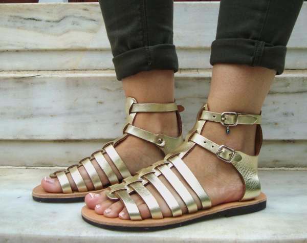 Gold Greek Sandals Gladiator Shoes