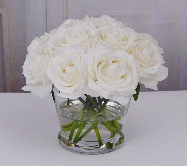 White Roses in Glass Vase Faux Arrangement