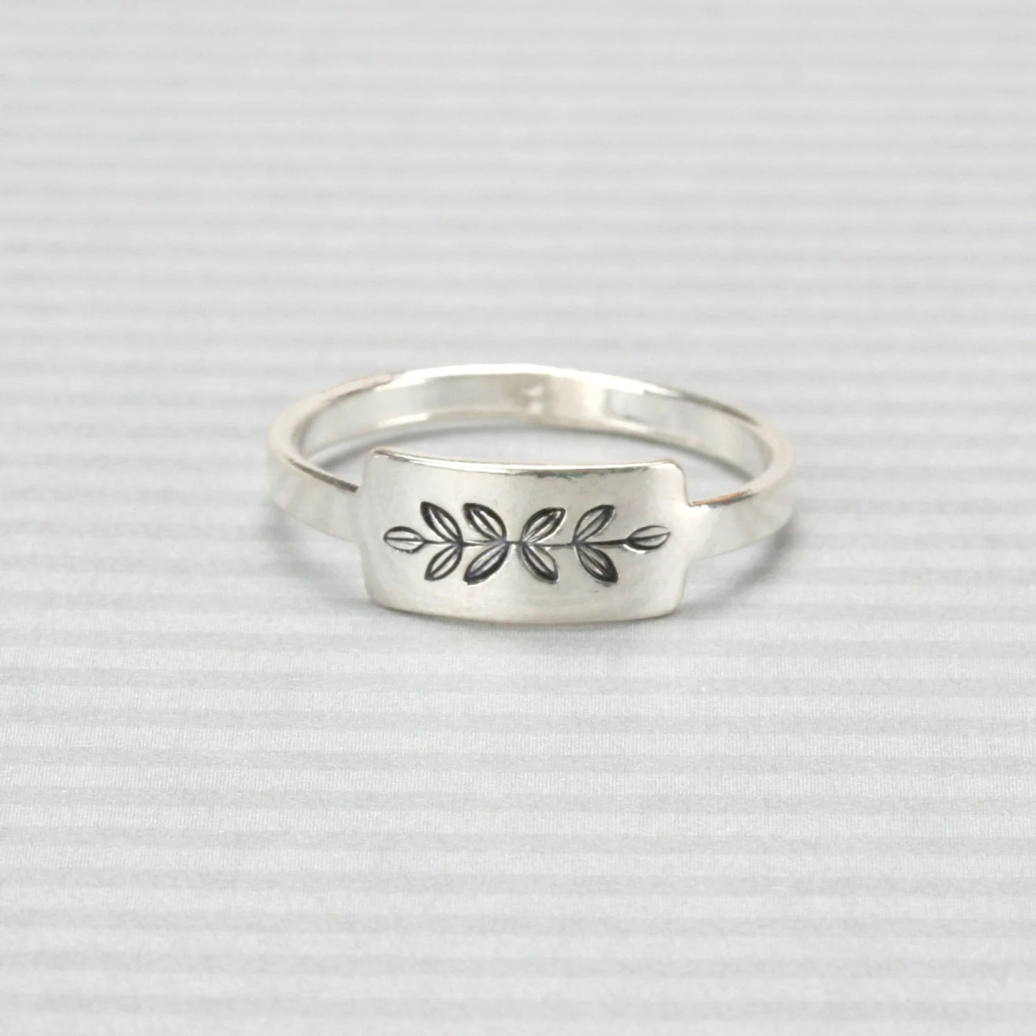 Sterling Silver Rectangle Tab Ring Stamping Blank, Size 6