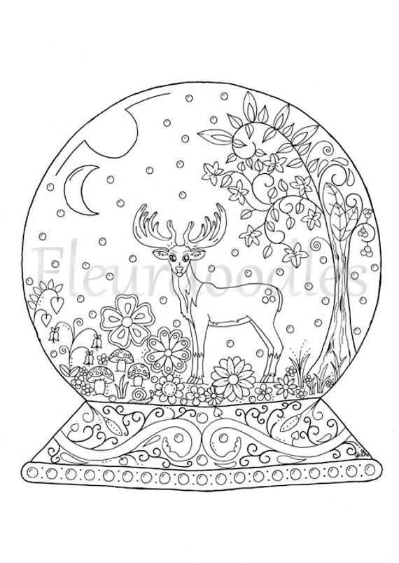 adult coloring page Snow Globe instant download by