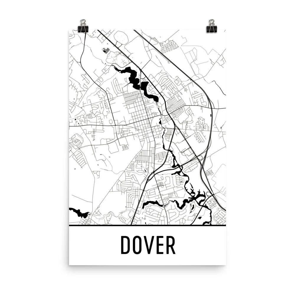 Dover Map Dover Art Dover Print Dover DE Poster Dover Wall