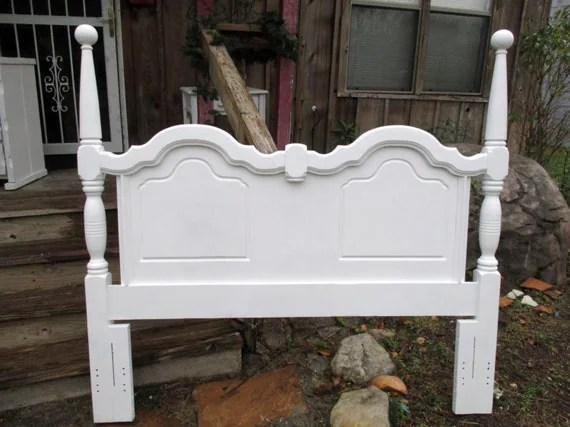 Queen Headboard Wood Shabby Chic Bed Hand Carved Ornate