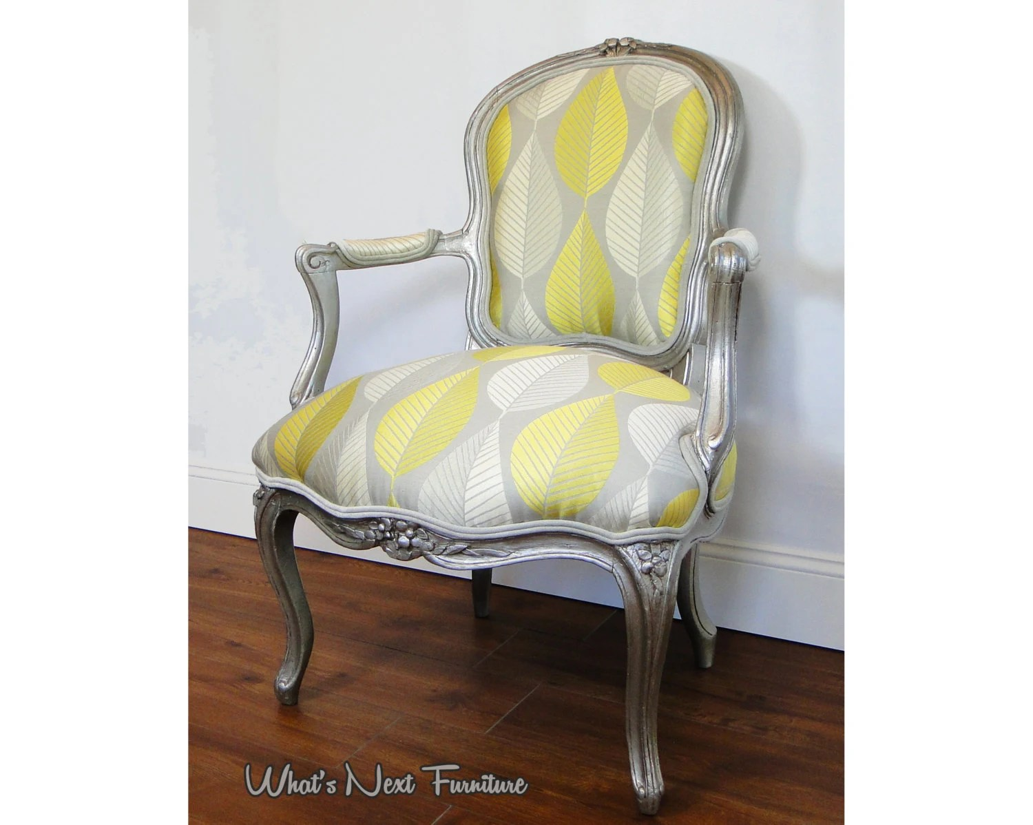 Yellow And Grey Accent Chair Silver Chair Yellow Grey Accent Louis Antique Vintage