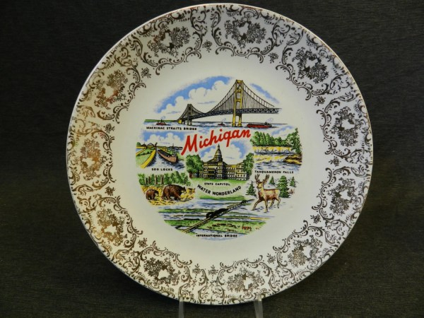 Vintage State Of Michigan Souvenir Plate International