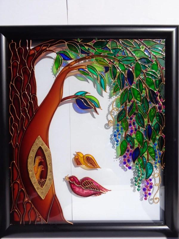 Family Tree Art Glass Painting Wall Decor Of Life