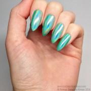 green unicorn chrome powder nails