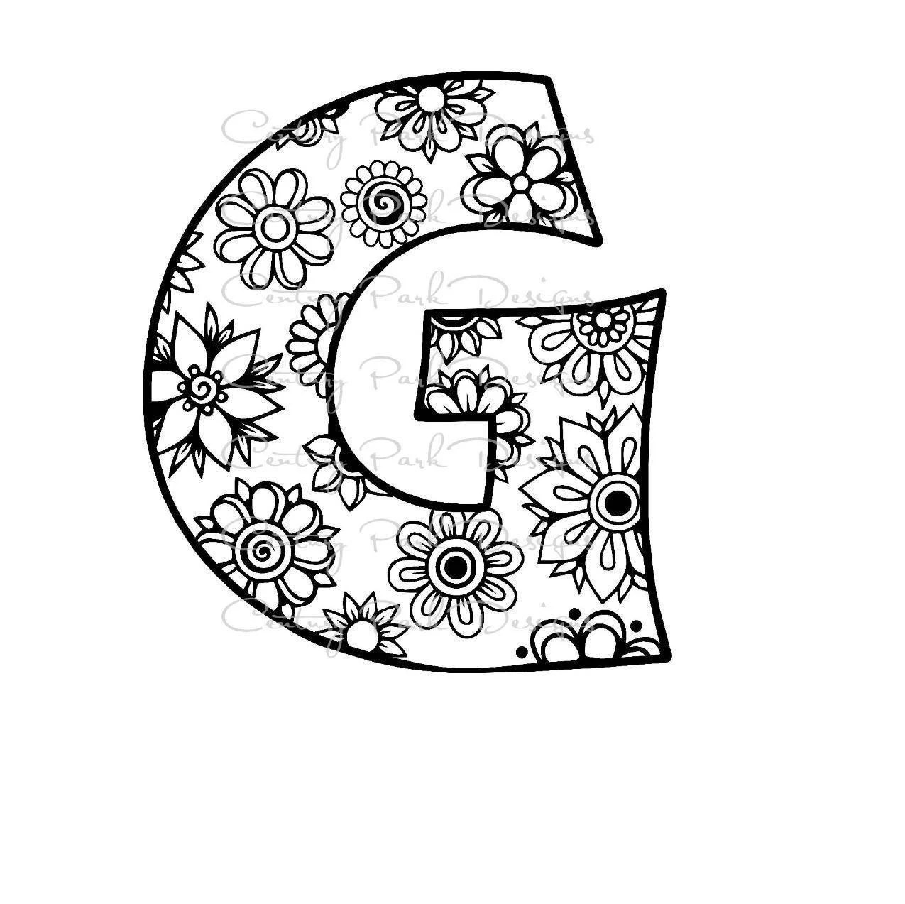 Letter G Alphabet Flowers SVG / JPEG / PNG /pdf / use with