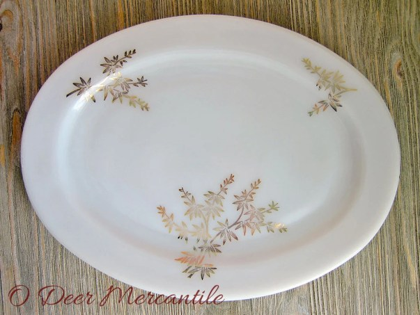 Federal Glass Company Golden Glory Pattern Platter: Mid Century Milk Glass 12 Inch Platter with Golden Leaf and Branch Design  ~ $12.00