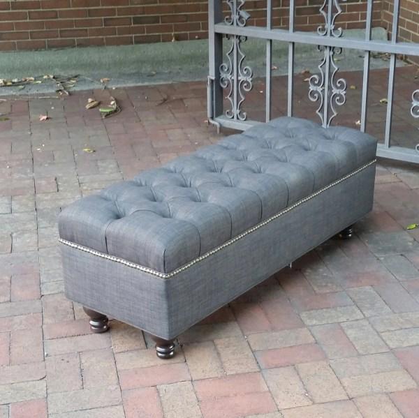 Grey Upholstered Bench Ottoman