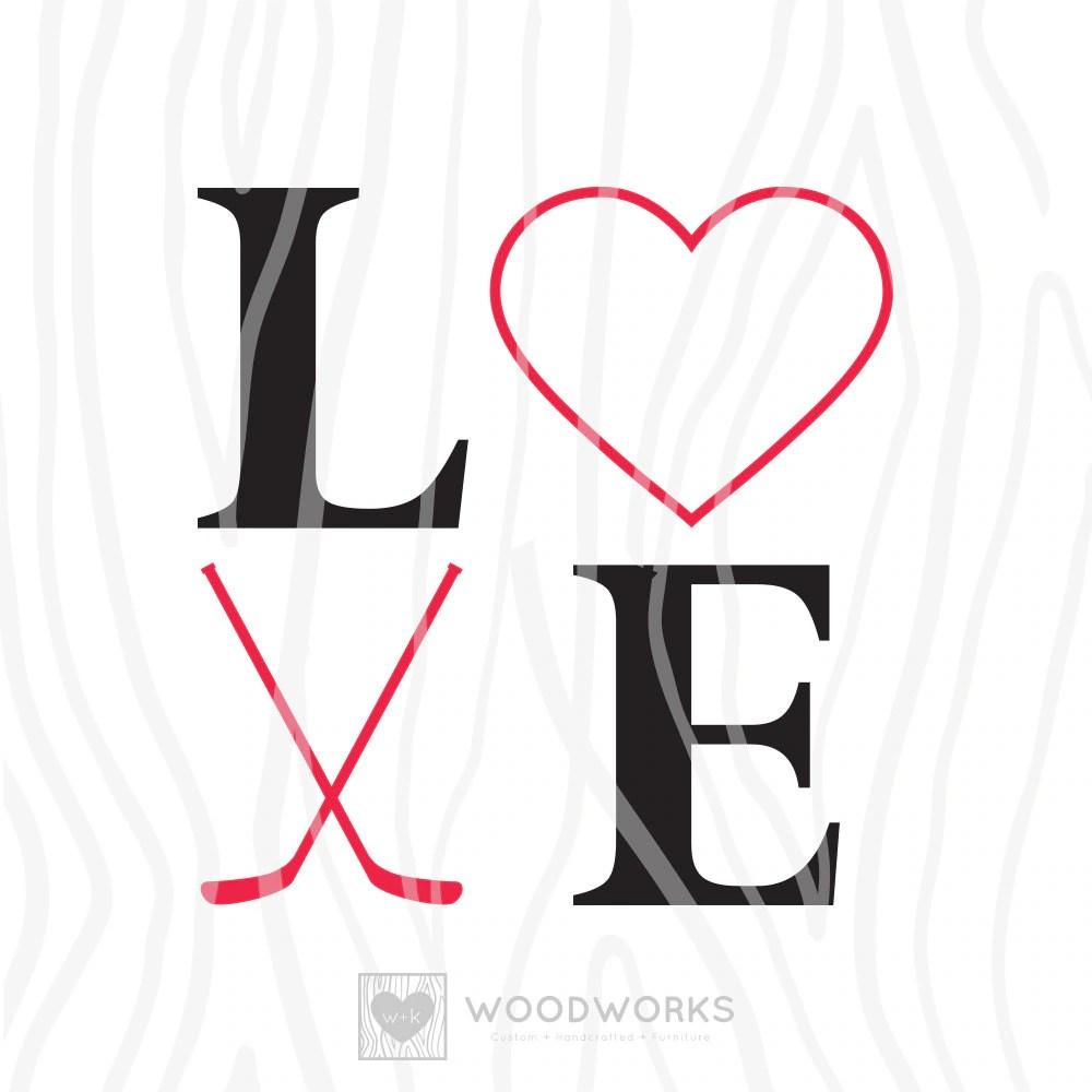 Download SVG / DXF LOVE Hockey Instant Download Vector Art