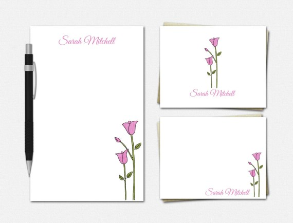 Personalized Tulip Stationery Set - Personalized Stationery - Floral Stationery - Tulip Stationary - Stationary for Women - Tulip Stationery
