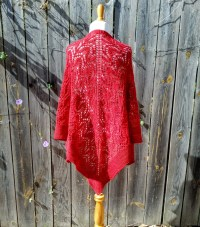 Hand knit red lace shawl hand dyed 100% merino wool SHIPS