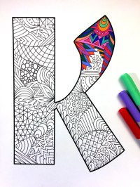Letter K Zentangle Inspired by the font Deutsch
