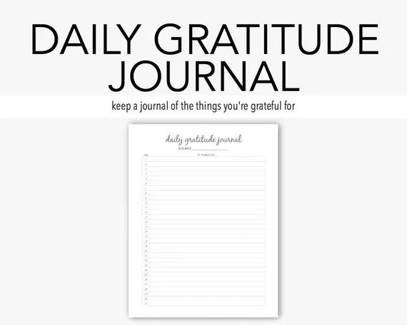 Daily Gratitude: Mental Health Journal Depression Anxiety
