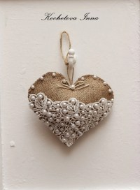 Burlap lace heart ornaments Home decor ornaments by