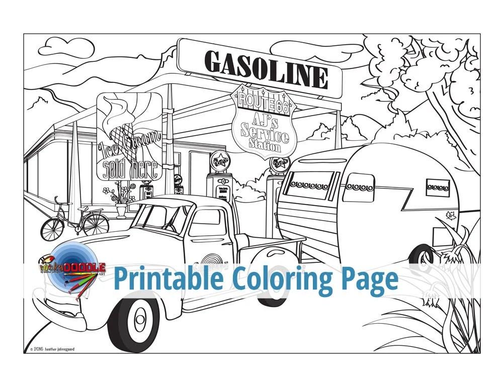 Fill 'Er Up Adult Coloring Page Masculine Boys Men