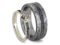 Dinosaur Bone Wedding Ring Set Rough Diamond Engagement Ring