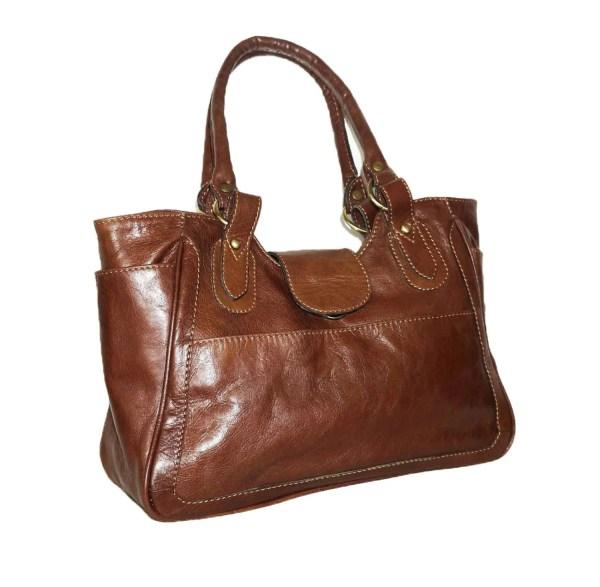 Distressed Brown Leather Bag Tote Shoulder
