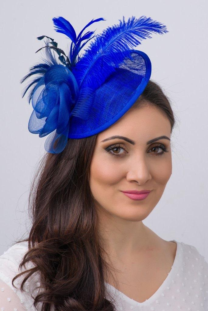 Royal Blue Fascinator Kate Mesh Couture English