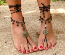 Ethnic Brass Flower Barefoot Sandals Black Foot Jewelry Hippie