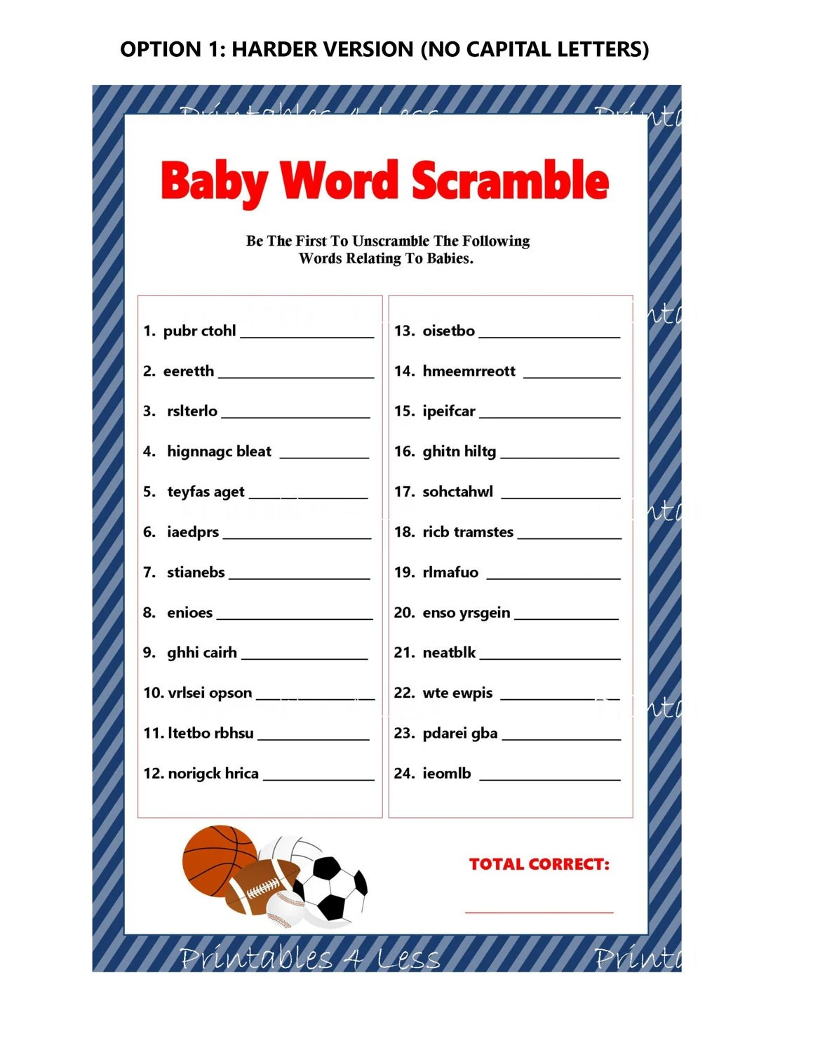 Sports Word Scramble Baby Word Scramble Printable Baby Word