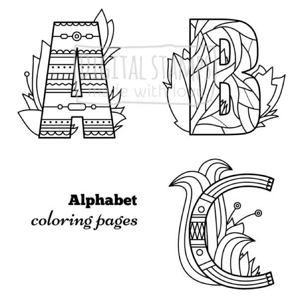 Alphabet coloring pages Coloring book Adult Kids