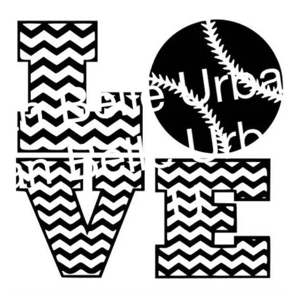 Download Chevron Love Baseball Softball svg dxf file scrapbook