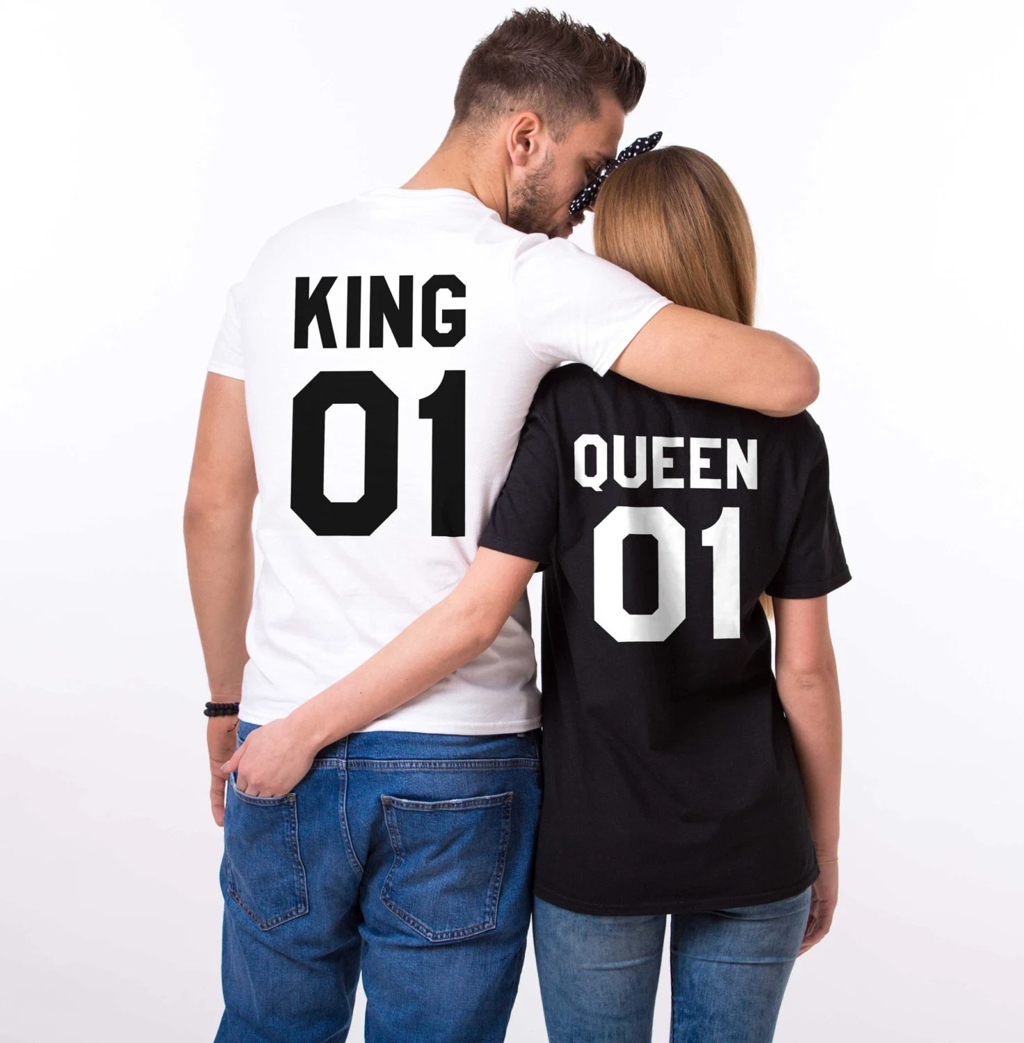 King and Queen shirts King 01 Queen 01 Couples Tshirt Set