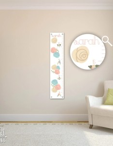 Growth chart for girls kids room wall decor floral custom hanging children   also boys zoo jungle rh etsy