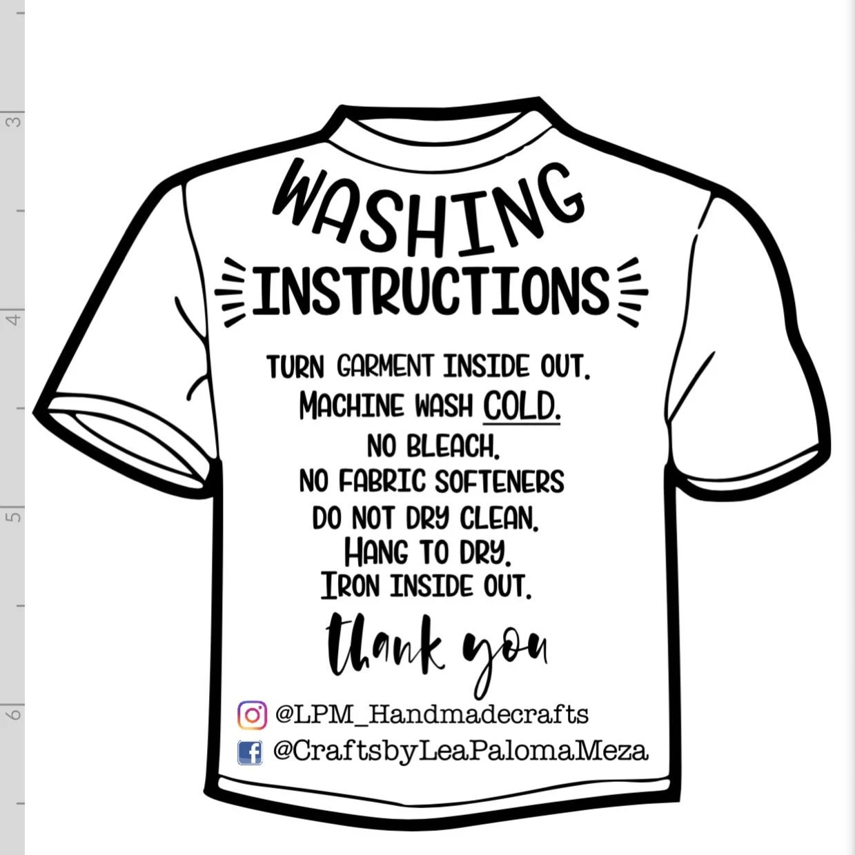 Garment Care Card SVG HTV wash instructions Clothing care