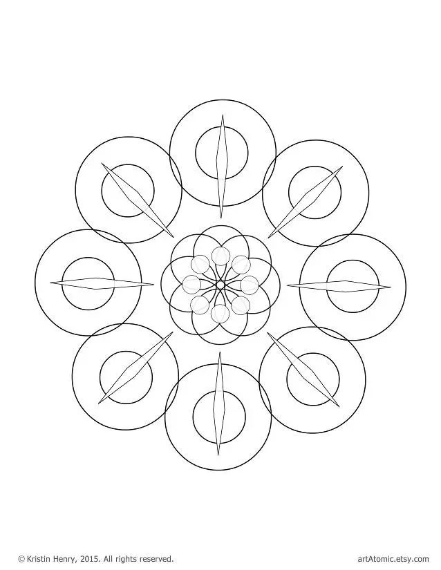 Downloadable Adult Coloring Page: Generative Squares. Math