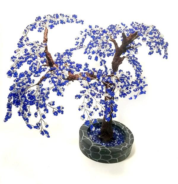 Beaded blue tree Beaded tree of life Seed bead tree Wire tree