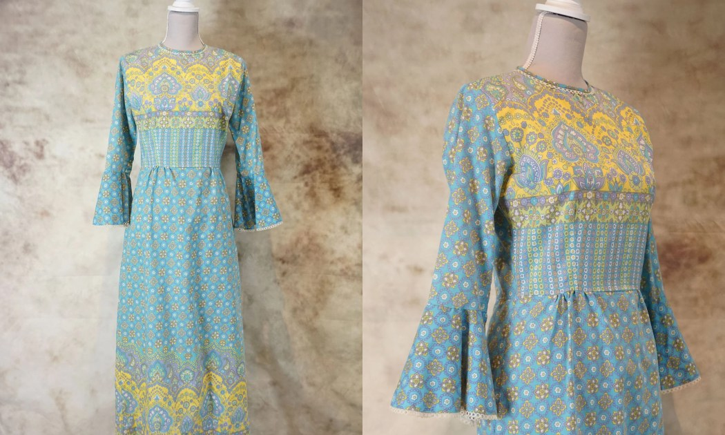 70s Hippie Dress, 1970 Bo...