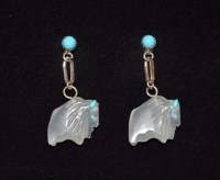 Earrings White Buffalo Ghost AlabasterTurquoise & Sterling