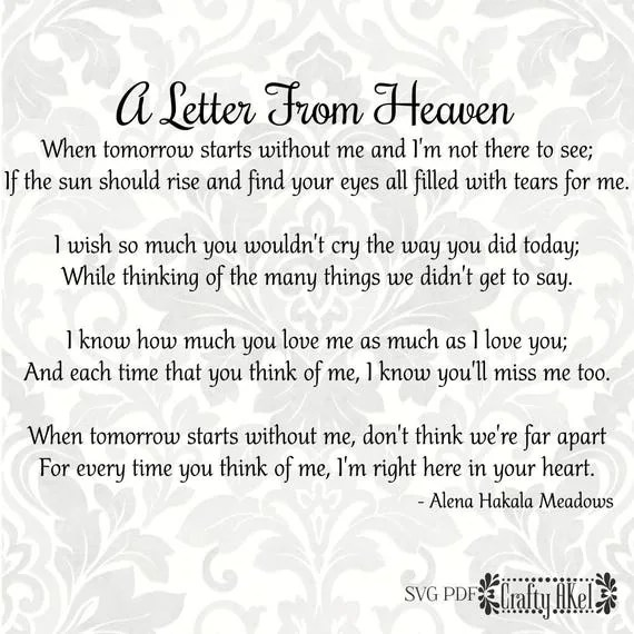 Bereavement svg A Letter From Heaven Mourning svg
