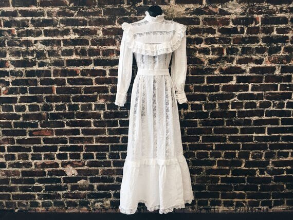 1970s Peasant Style Wedding Dress 70s Mexican Lace Dress with