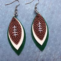 Gameday green and white leather earrings football green and