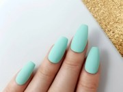 matte pastel mint press nails
