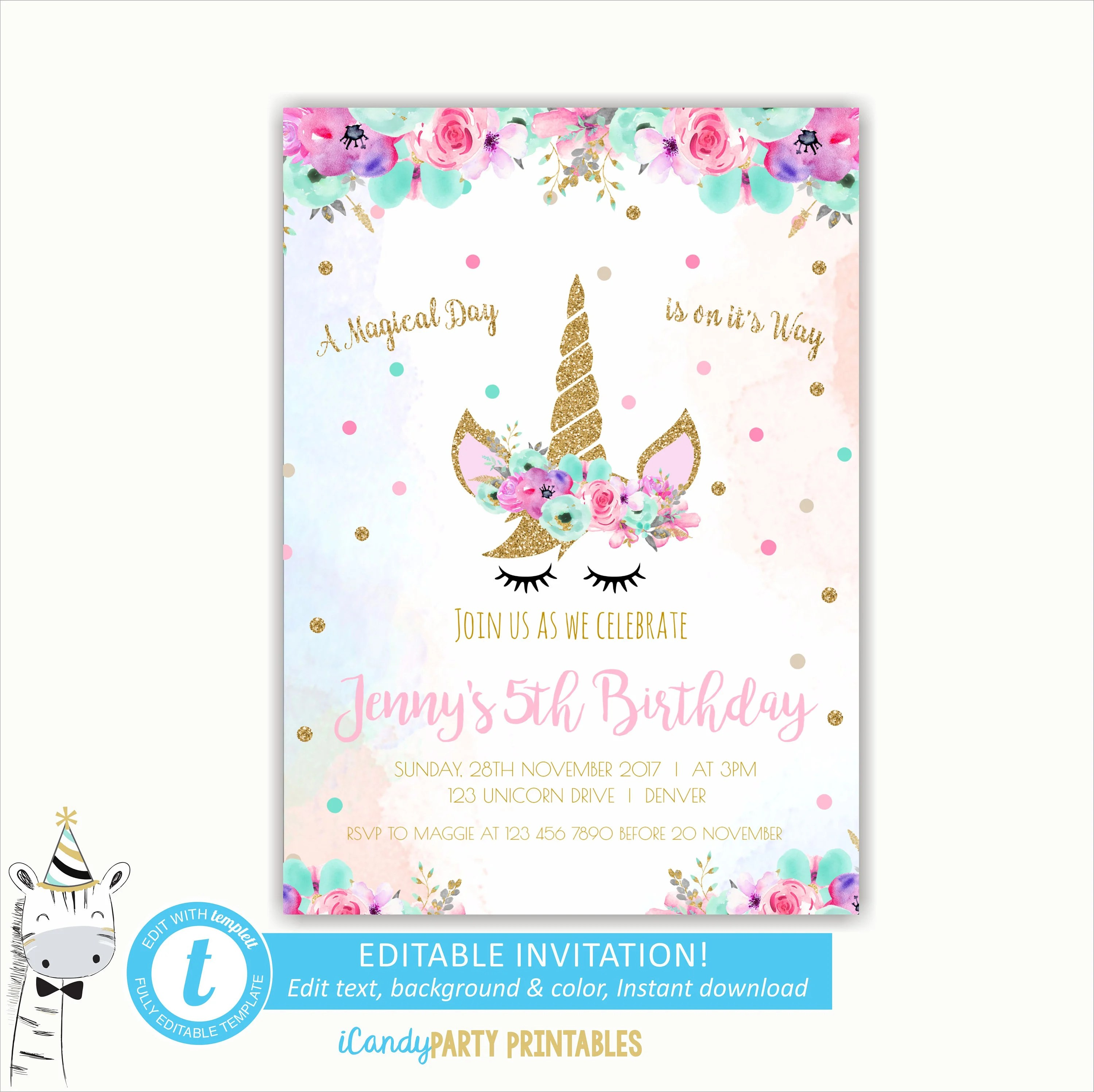 photograph about Unicorn Face Printable known as Absolutely free Printable Unicorn Birthday Invites - Anarchistshemale