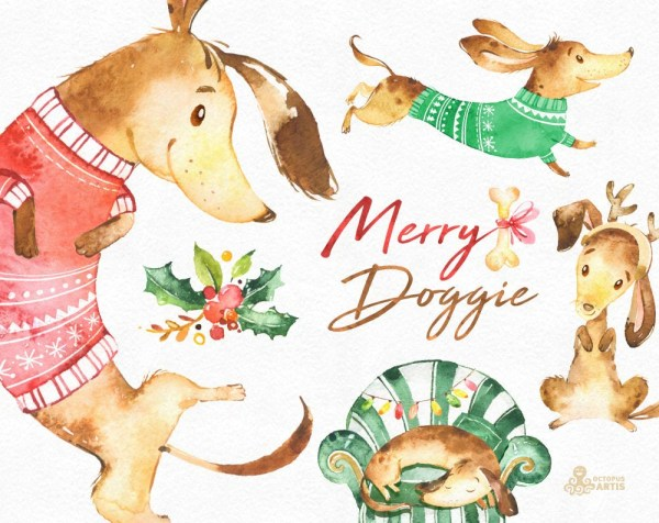 merry doggie. christmas watercolor